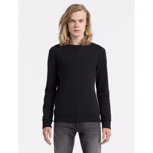 slim fit logo solid crewneck sweatshirt | Calvin Klein