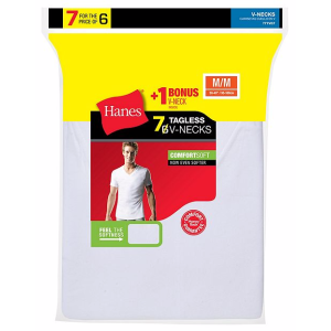 Hanes ComfortSoft® TAGLESS® Men's V-Neck Undershirt 7-Pack (Includes 1 Free Bonus V-Neck)