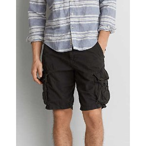 AEO Destroyed Classic Cargo Short, Black | American Eagle Outfitters