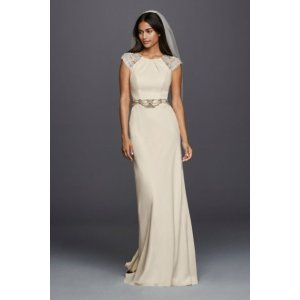 Cap Sleeved Crepe Sheath Wedding Dress - Davids Bridal