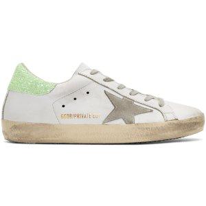 Golden Goose: SSENSE Exclusive White & Green Superstar 休闲鞋