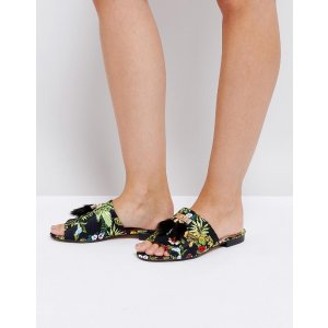 River Island Floral Jacquard Backless Loafers