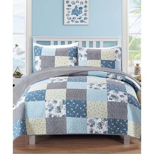 Blue & Gray Fiore Three-Piece Reversible Quilt Set