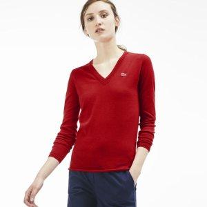 Lacoste Women's Cotton Jersey V-Neck Sweater