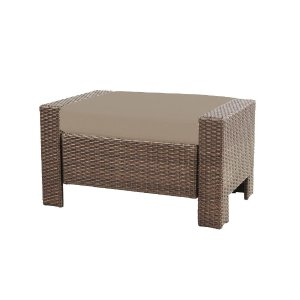 Hampton Bay Beverly Patio Ottoman with Beverly Beige Cushion-65-9102332B - The Home Depot