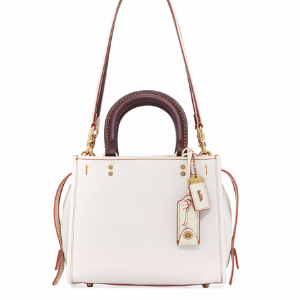 Rogue 25 Two-Tone Leather Shoulder Bag, White