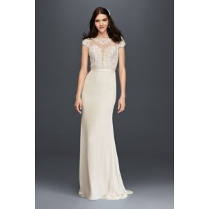 Cap Sleeve Crepe Wedding Dress with Plunge Bodice - Davids Bridal
