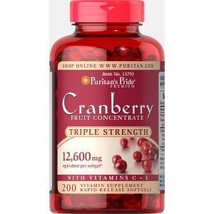 Triple Strength Cranberry Fruit Concentrate 12,600 mg 200 Softgels | Food Supplements Supplements | Puritan's Pride