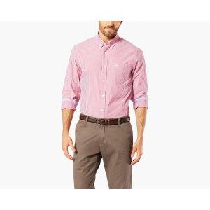 Essential Poplin Shirt, Standard Fit | Blue Stripe | Dockers® United States (US)