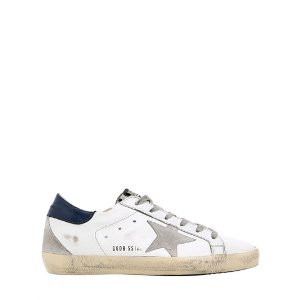 GOLDEN GOOSE DELUXE BRAND - 20MM SUPER STAR PONYSKIN TONGUE SNEAKERS - SNEAKERS - WHITE/BLUE - LUISAVIAROMA