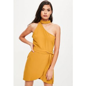 Missguided - Mustard Yellow One Shoulder Choker Neck Bodycon Dress