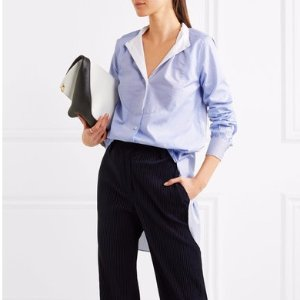 Paneled striped cotton-poplin shirt