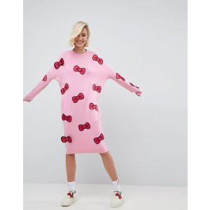Hello Kitty X ASOS Midi Knitted Dress With 3D Bow Detail at asos.com