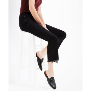 The Jodi Crop In Black Storm Crop Flare Jeans