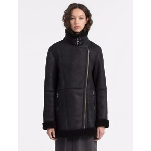 shearling leather biker coat