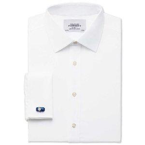 Classic fit non-iron poplin white shirt | Charles Tyrwhitt