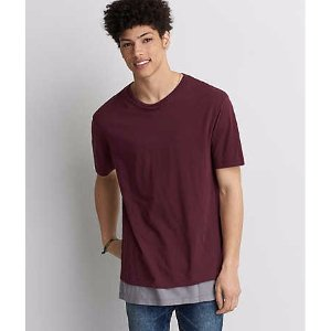 AEO Longline Crew T-Shirt, Gray | American Eagle Outfitters