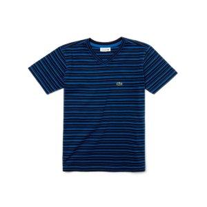 Kids' V-Neck Striped Jersey T-Shirt | LACOSTE