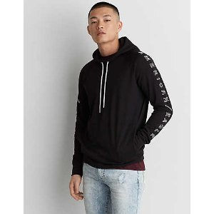 AE Active Graphic Waffle Hoodie, Bold Black | American Eagle Outfitters