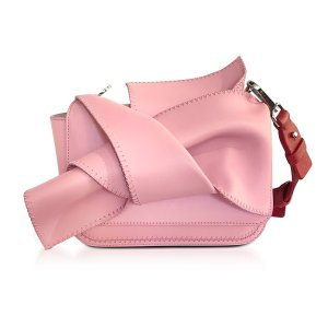N�21 Small Pink Leather Bow Shoulder Bag w/Red Leather Shoulder Strap at FORZIERI