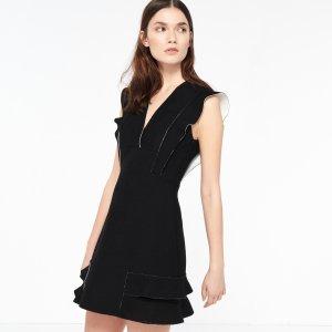 Honeycomb Fabric Dress With Frills - Dresses - Sandro-paris.com
