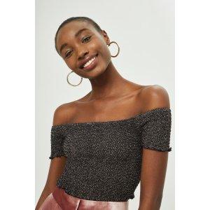 Metal Shirred Bardot Top