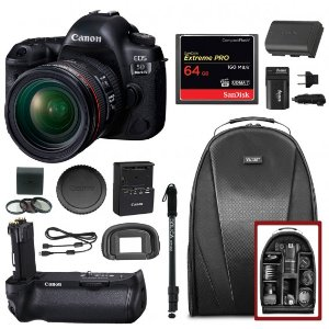 Canon EOS 5D Mark IV w/ EF 24-70mm f/4L IS USM Lens & Battery Grip w/ Kit