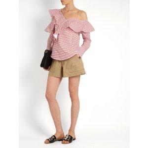 One-shoulder striped cotton shirt | Self-portrait