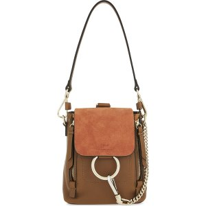 CHLOE - Faye mini leather & suede backpack