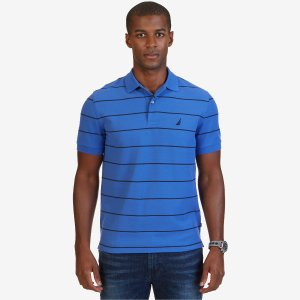 Classic Fit Striped Performance Deck Polo Shirt - French Blue | Nautica