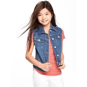 Medium-Wash Denim Vest for Girls
