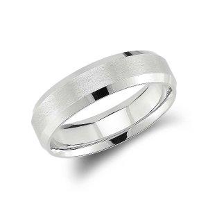 Beveled Edge Matte Wedding Ring in Platinum (6mm) | Blue Nile