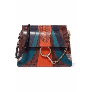 Faye medium elaphe and leather shoulder bag