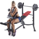 Weider Pro 265 Standard Bench with 80 Lb. Vinyl Weight Set
