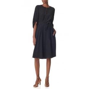 Silk Split-Neck Dress - Sale   Official Site