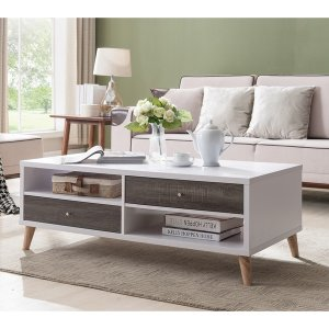 Furniture of America Arella I Mid-Century Modern 2-tone Distressed Grey White Coffee Table | Overstock.com Shopping - The Best Deals on Coffee, Sofa & End Tables