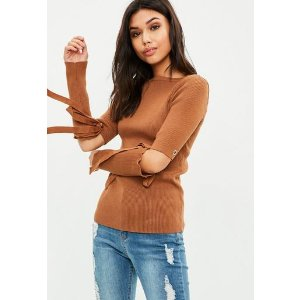 Missguided - Brown Knitted Tie Sleeve Top