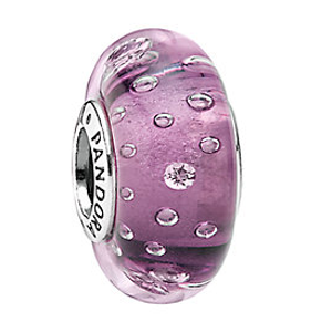 PANDORA Silver Effervescence Murano Glass Charm