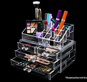 Lightning deal! Novel Box Ultra Clear Acrylic Cosmetic & Jewelry 2-Piece Storage Organizer (Rectangular Top + 4 Drawers)