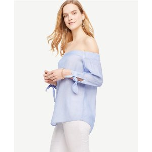 Off The Shoulder Tie Sleeve Top | Ann Taylor