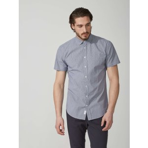 Mini-Check Poplin-Cotton Shirt in Navy | Frank And Oak