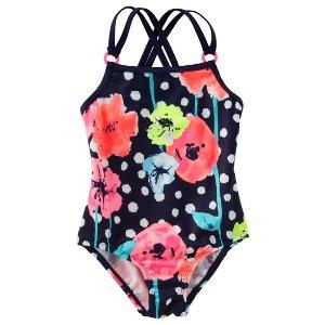 Kid Girl OshKosh Floral Polka Dot Swimsuit | OshKosh.com
