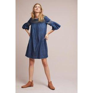 Current/Elliot Embroidered Denim Tunic Dress