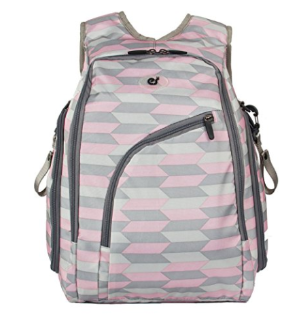 ECOSUSI Diaper Backpack Fully-opened Baby Diaper Bag with Changing Pad Pink and Grey