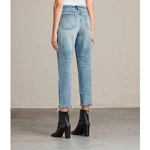 ALLSAINTS US: Womens Boys Frayed Jeans (LIGHT INDIGO BLUE)