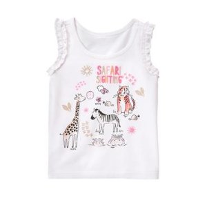 Toddler Girls White Safari Tank by Gymboree