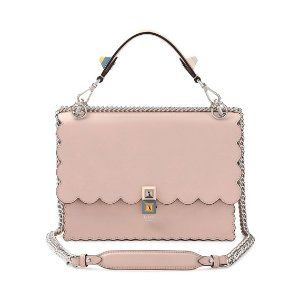 Kan I Scalloped Leather Shoulder Bag, Pink
