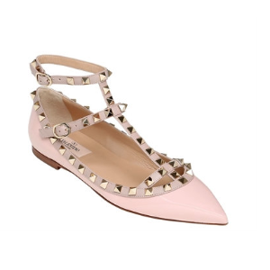 VALENTINO - ROCKSTUD PATENT LEATHER BALLERINAS - FLATS - WATER ROSE