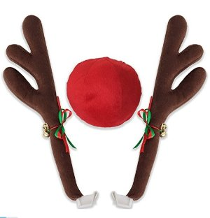 OxGord Car Window Roof Front Accessories Rudolf Reindeer Antlers Easy Install Rooftop Antler and Grille Nose
