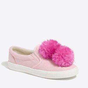Girls' pom pom canvas sneaker